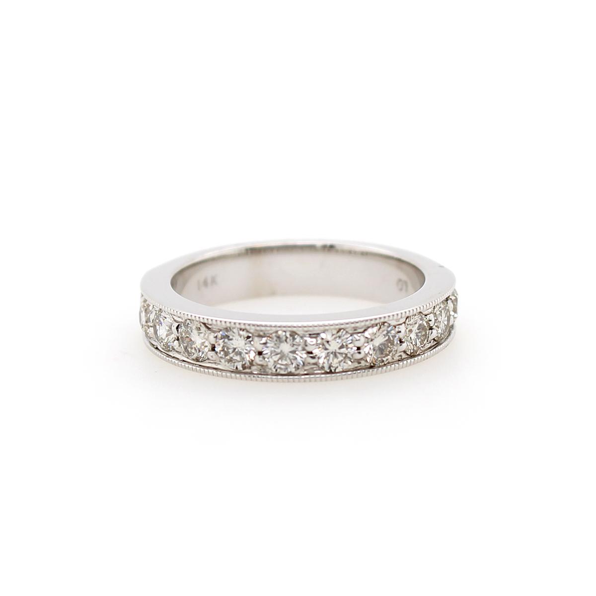 Shefi Diamonds 14 Karat White Gold 1 Carat Millgrain Edge Wedding Band