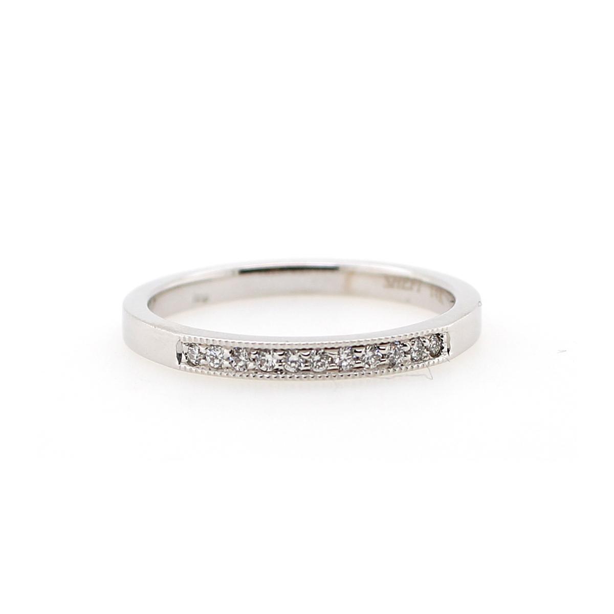 Shefi Diamonds 14 Karat White Gold .1 Carat Millgrain Edge Wedding Band