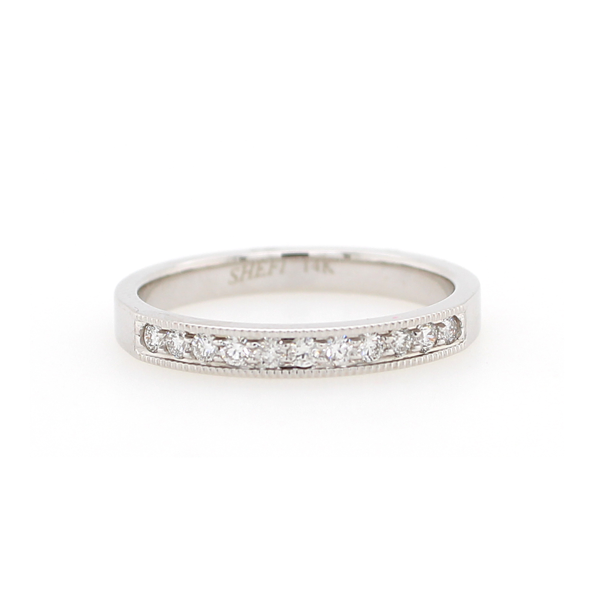 Shefi Diamonds 14 Karat White Gold .2 Carat Millgrain Edge Wedding Band