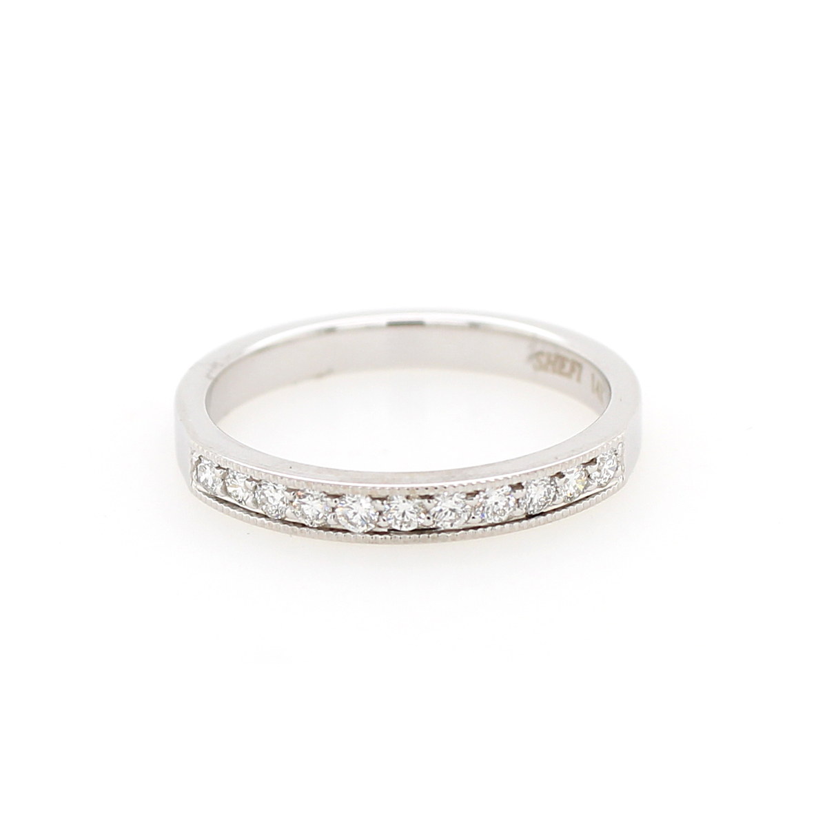 Shefi Diamonds 14 Karat White Gold .25 Carat Millgrain Edge Wedding Band