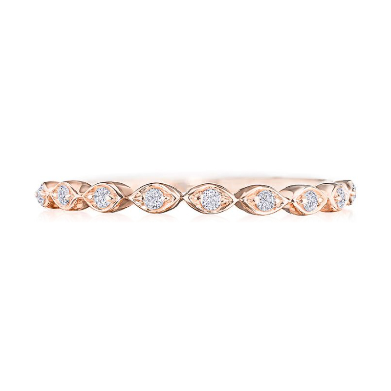 Henri Daussi 18 Karat Rose Gold Diamond Wedding Band
