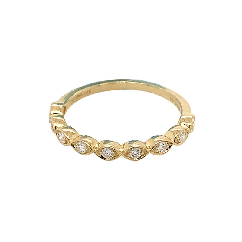 Henri Daussi 14 Karat Yellow Gold Large Marquise Diamond Wedding Band