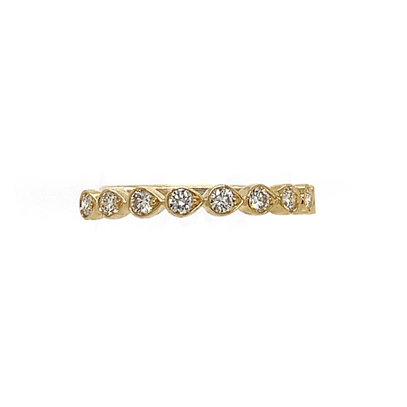 Henri Daussi 14 Karat Yellow Gold Pear Shaped Diamond Wedding Band