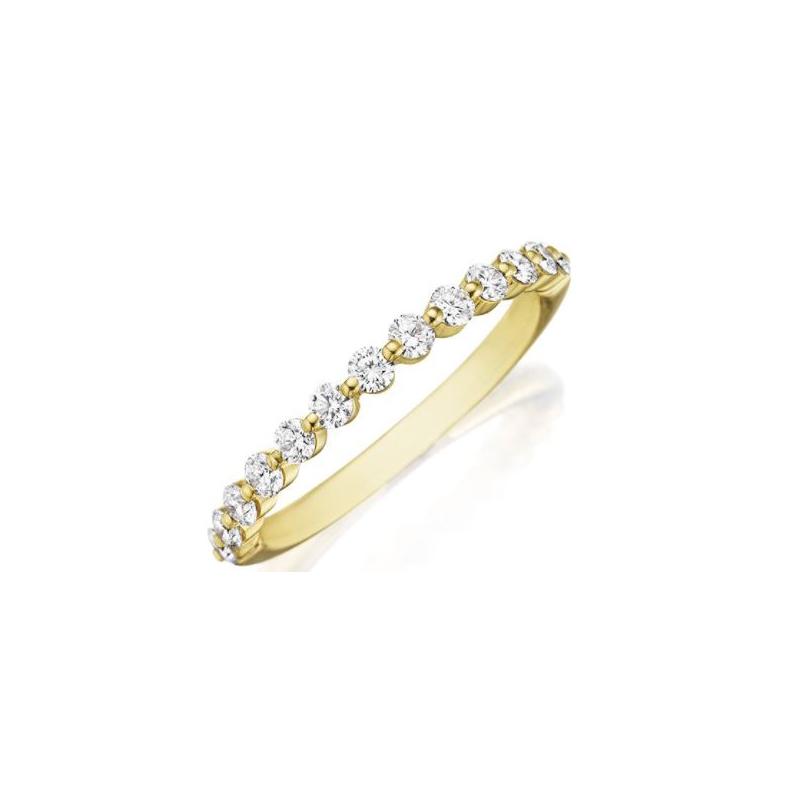 Henri Daussi 18 Karat Yellow Gold Shared Prong 13 Diamond Wedding Band