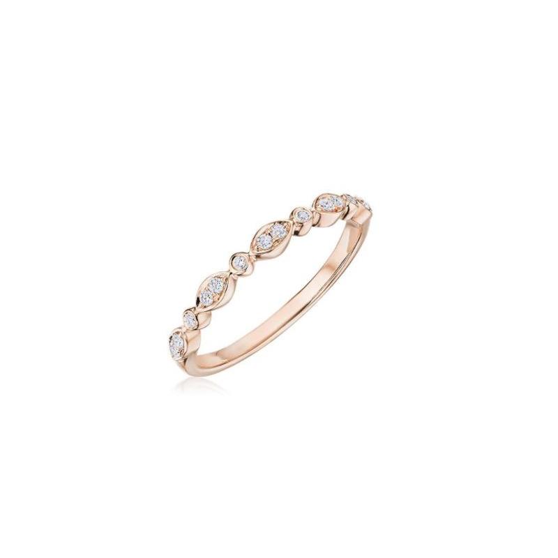 Henri Daussi 14 Karat Rose Gold Marquise and Round Diamond Wedding Band