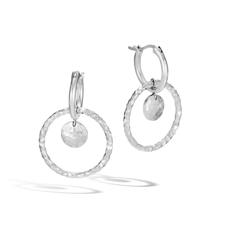 John Hardy Dot Hammered Silver Interlink Drop Earrings