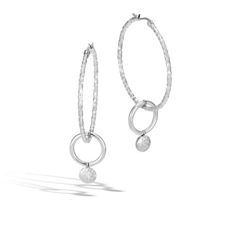 John Hardy Dot Hammered Silver Interlink Medium Hoop Drop Earrings
