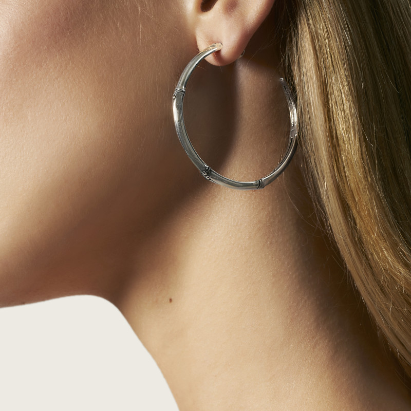 John Hardy Bamboo Silver Large Hoop Earrings