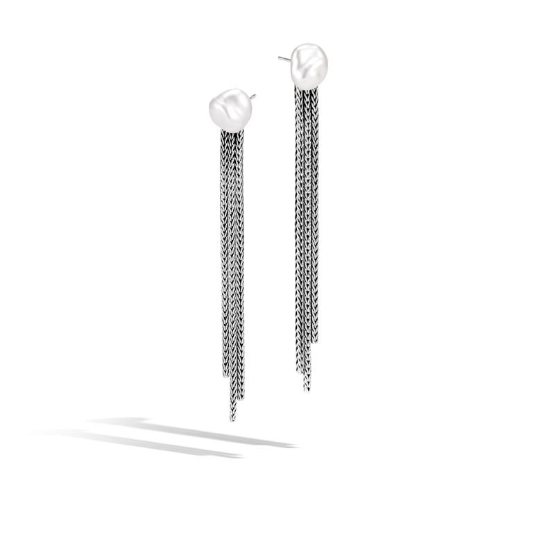 John Hardy Classic Chain Silver Drop Earrings with Fresh Water Pearl