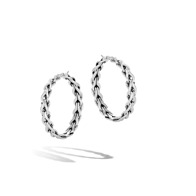John Hardy Asli Classic Chain Link Silver Medium Hoop Earrings