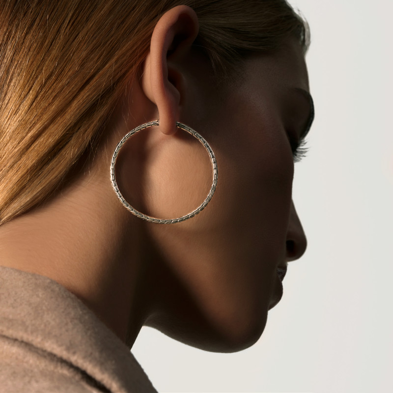 John Hardy Classic Chain Silver Large Hoop Earrings with Full Closure