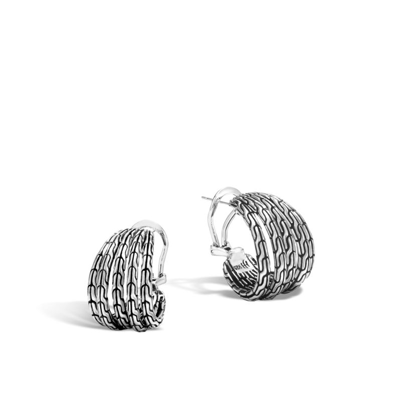 John Hardy Silver Classic Chain Hoop Earring