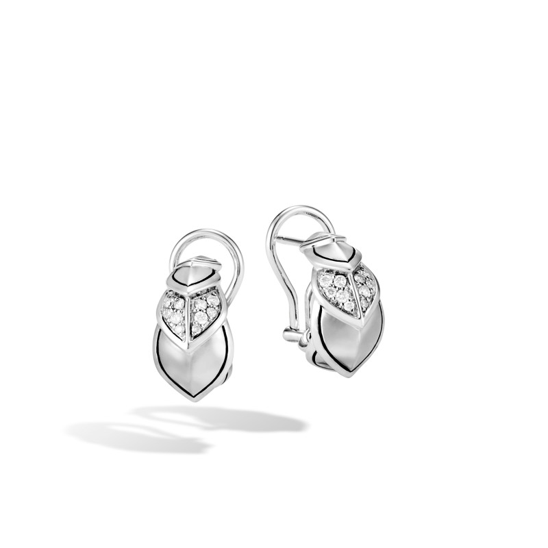 John Hardy Legends Naga Silver Diamond Pave Buddha Belly Earrings