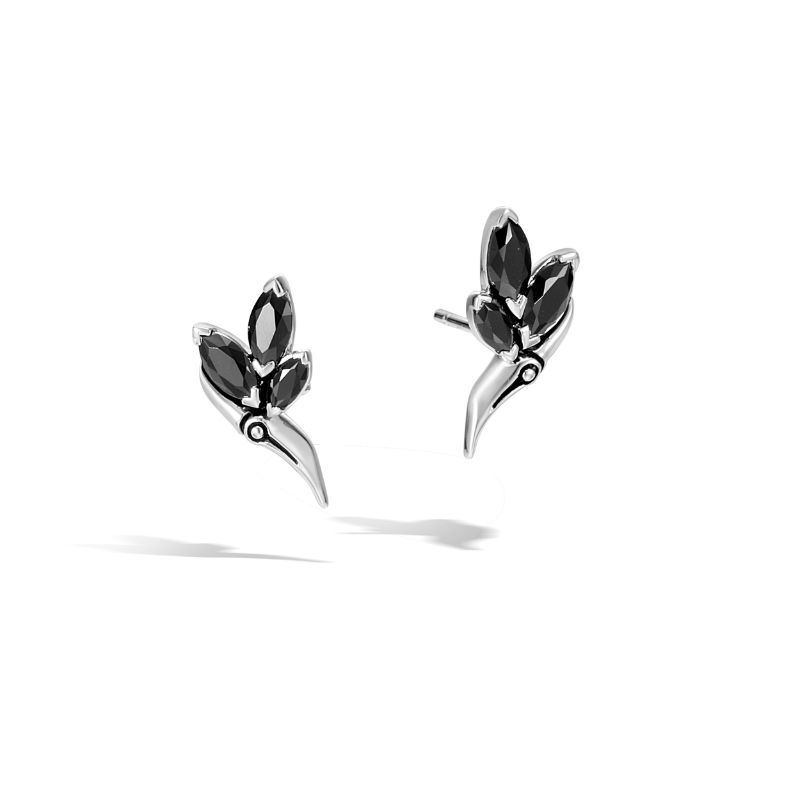 John Hardy Bamboo Silver Stud Earrings with Black Spinel