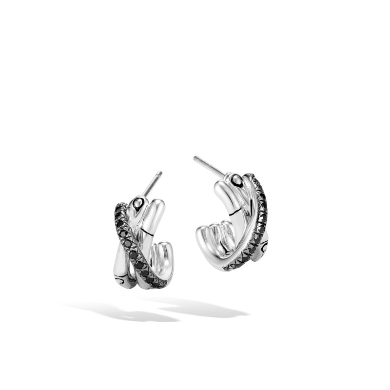 John Hardy Bamboo Silver J Hoop Earrings with Black Sapphire and Black Spinel