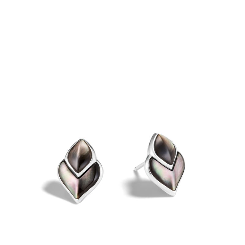John Hardy Legends Naga Silver Stud Earrings with Grey Mother of Pearl