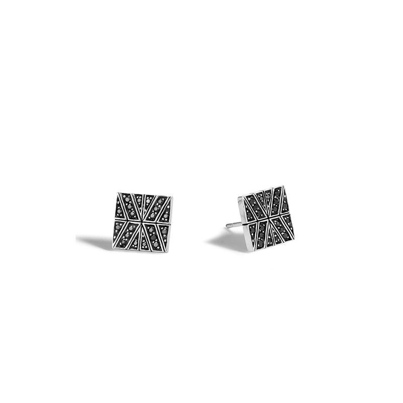 John Hardy Modern Chain Stud Earring with Black Sapphire