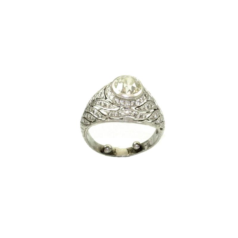 Vintage Old Mine Cut Diamond Antique Reproduction Platinum Ring