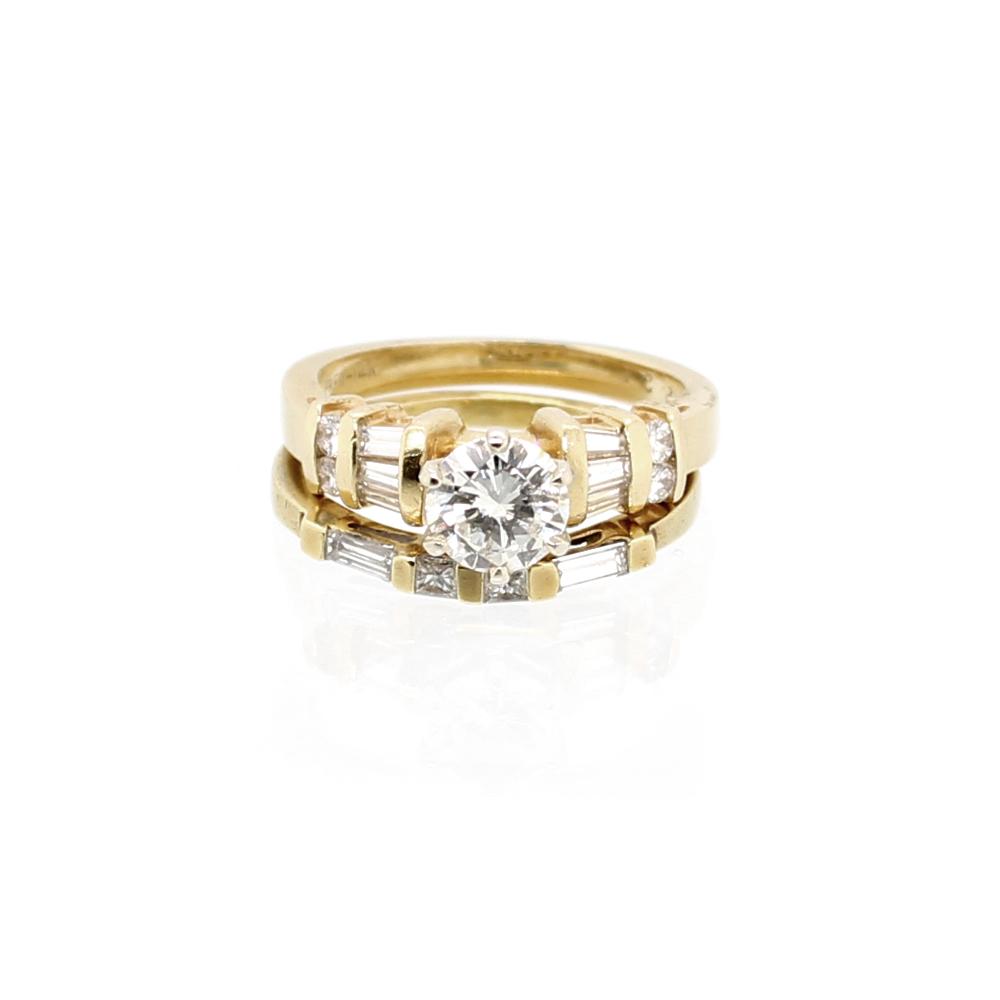 Vintage 14 Karat Yellow Gold EGL Diamond Bridal Set
