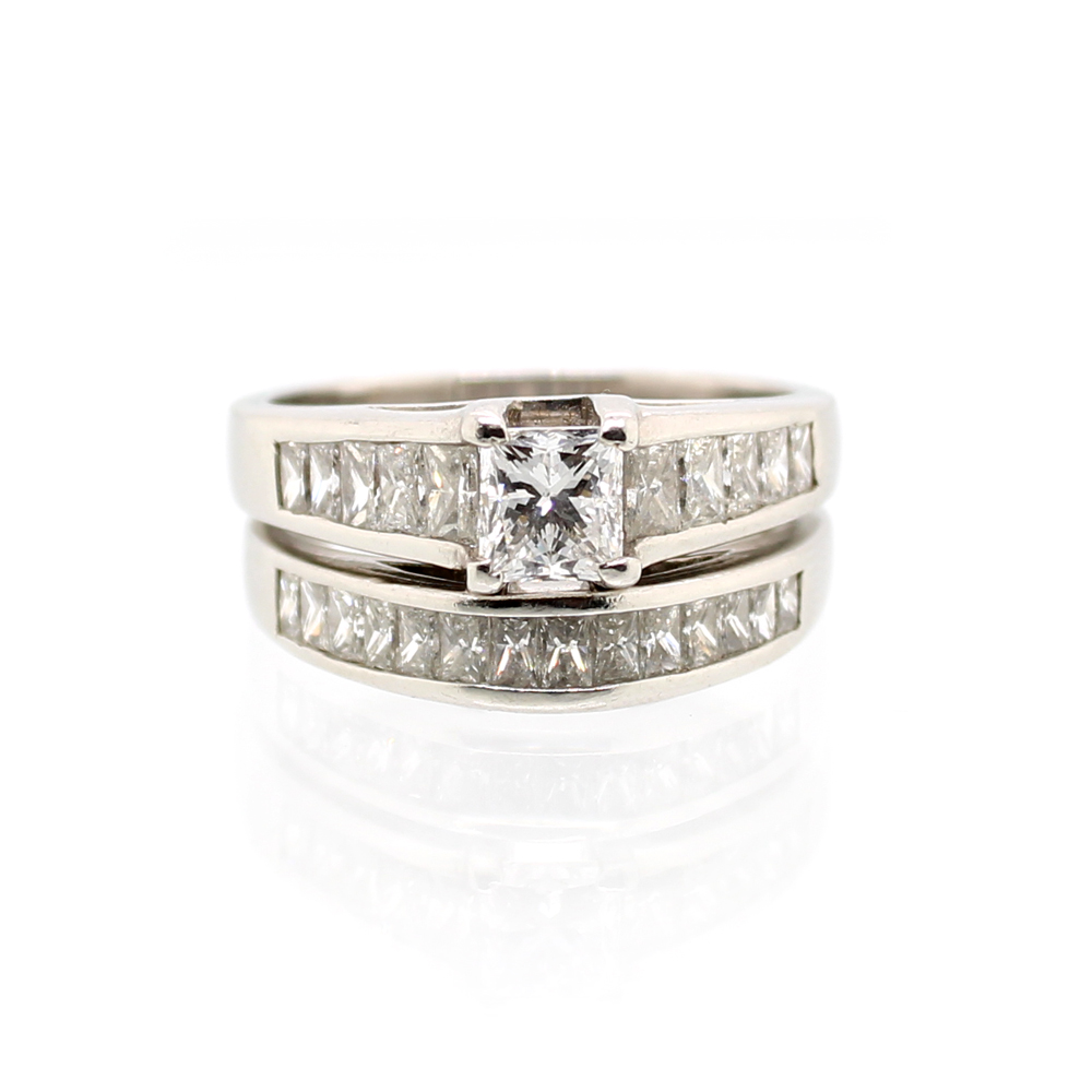 Vintage Platinum GIA Princess Cut Diamond Wedding Set