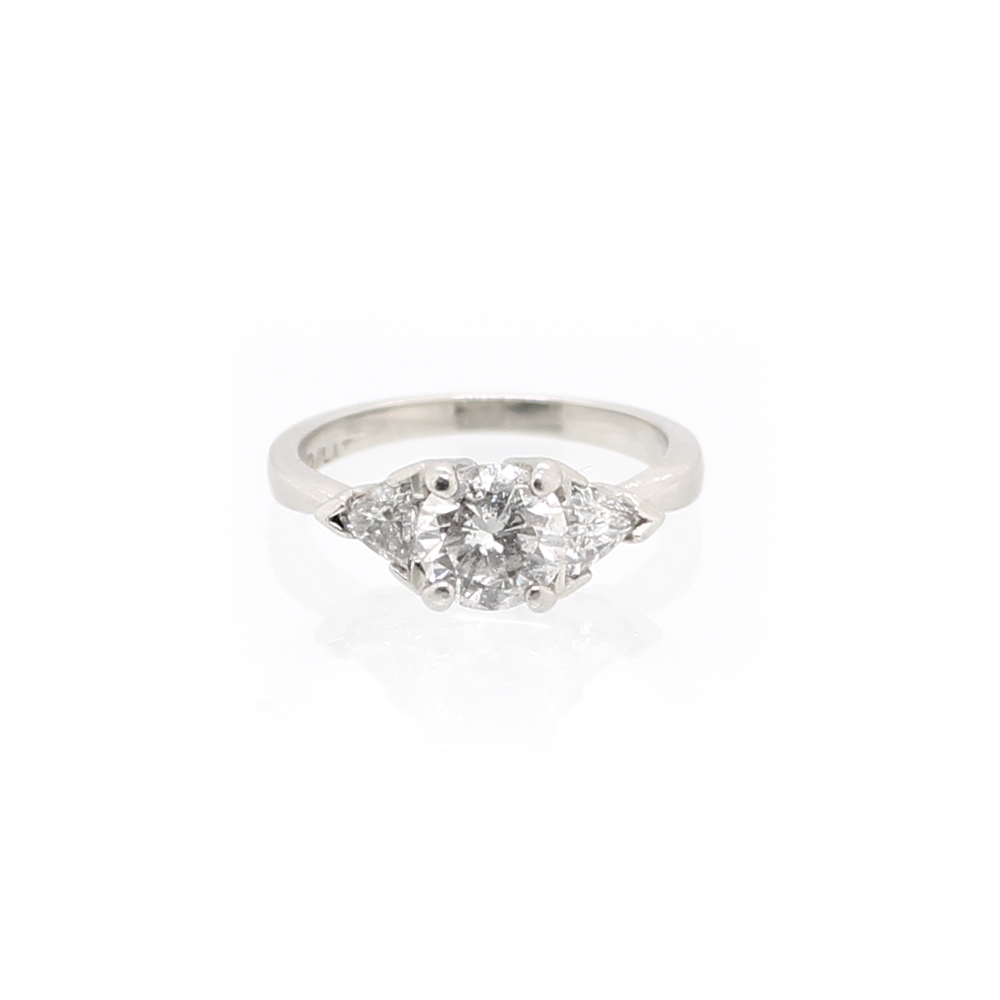 Estate Platinum Three Stone Diamond Ring