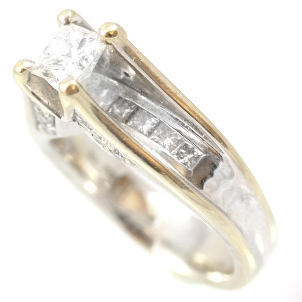 Vintage 18 Karat White Gold Diamond Bridal Ring