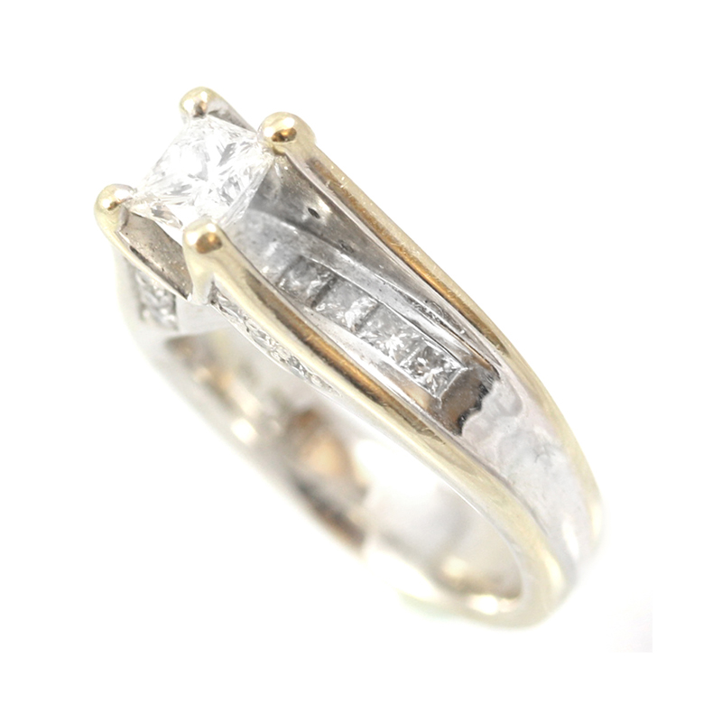 Estate 18 Karat white gold, diamond bridal ring.