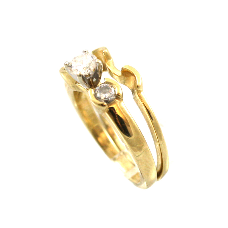 Wonderful 14 Karat Yellow Gold Diamond Bridal Set.