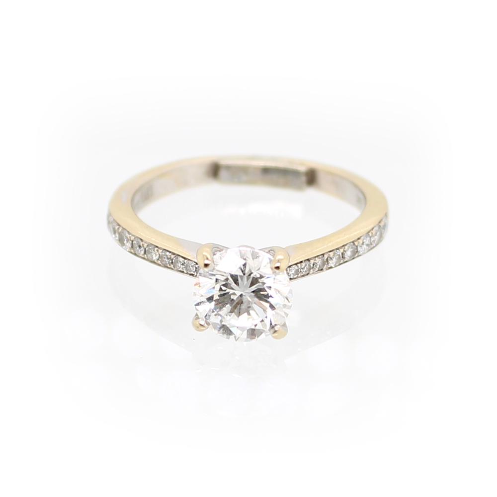 Vintage 18 Karat White Gold EGL Certified Diamond Ring