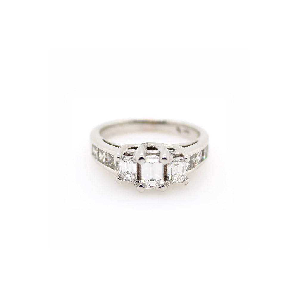 Vintage 14 Karat White Gold Emerald Cut Diamond Ring