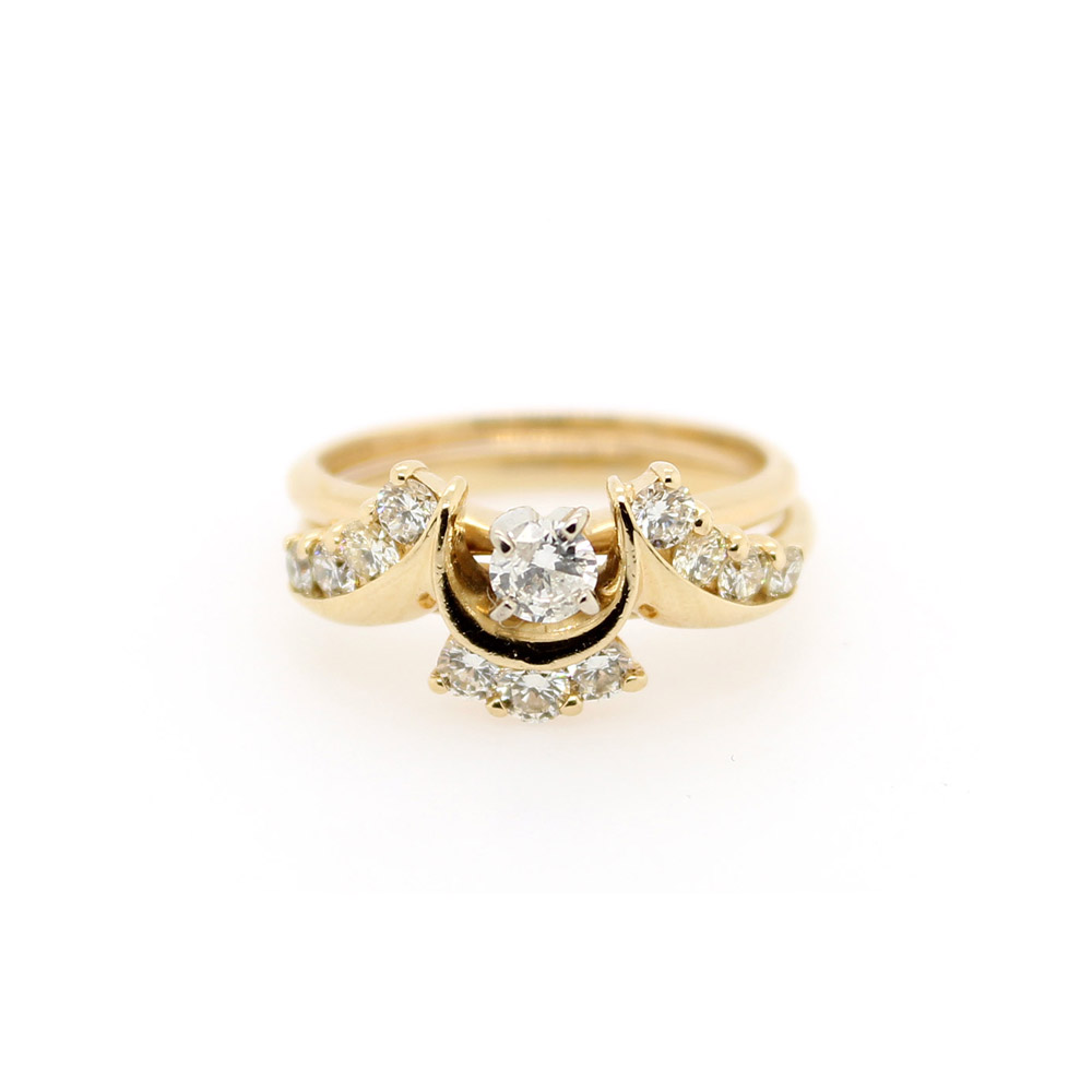 Estate 14 Karat Yellow Gold Diamond Bridal Set