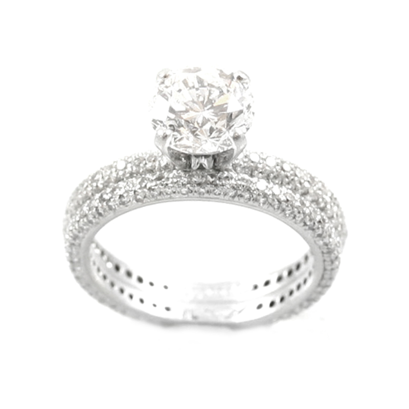 Estate Platinum Martin Flyer diamond bridal set.