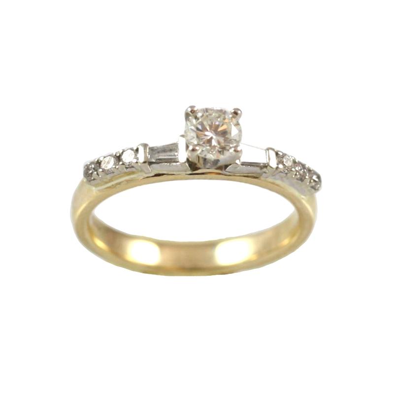 Vintage 14 Karat Yellow Gold Diamond Engagement Ring