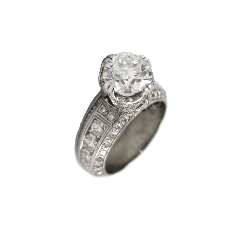 Vintage 18 Karat White Gold Diamond Ring