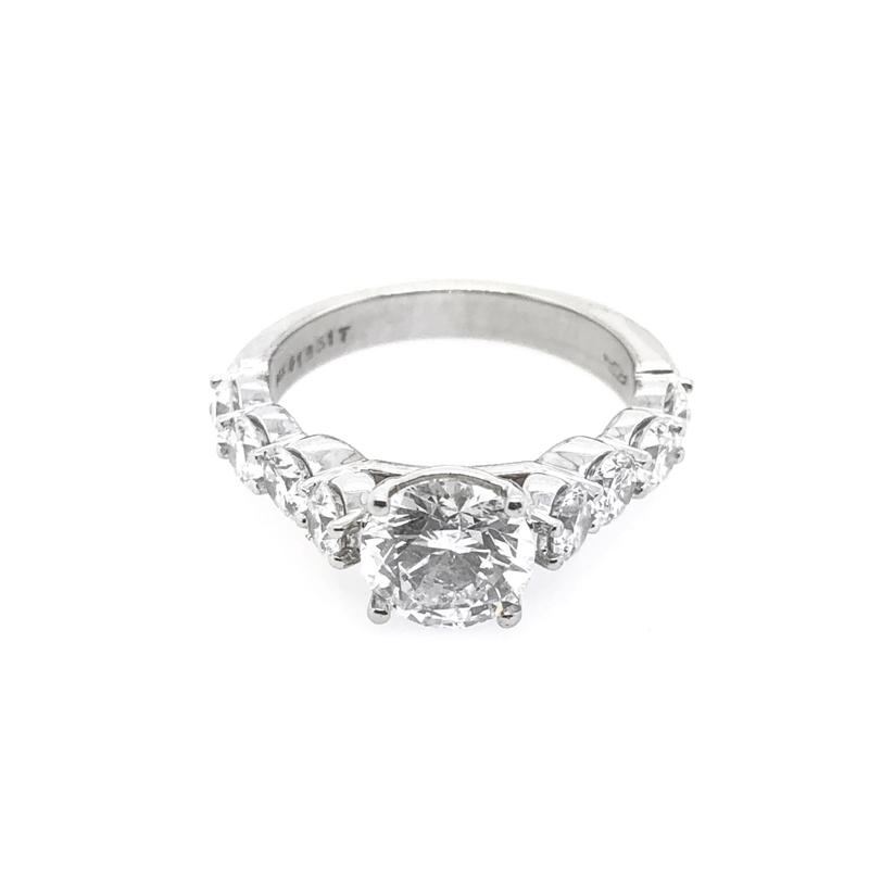Vintage 14 Karat White Gold EGL Certified Martin Flyer Bridal Ring