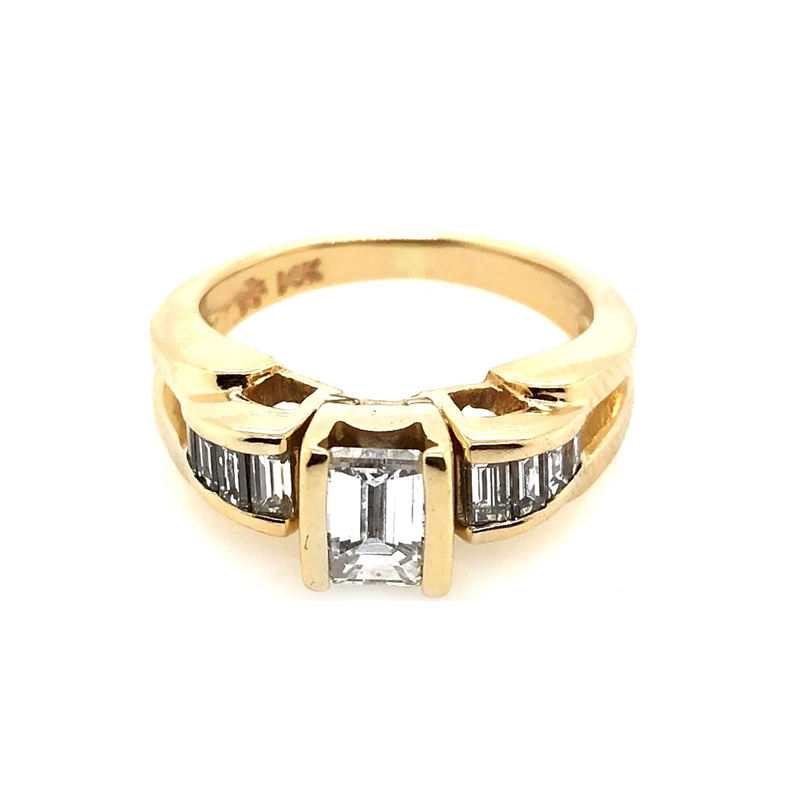 Estate 14 Karat Yellow Gold Emerald Cut Martin Flyer Diamond Ring