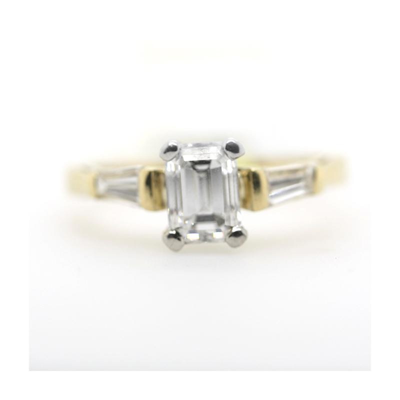 Vintage 18 Karat yellow gold and platinum diamond bridal ring