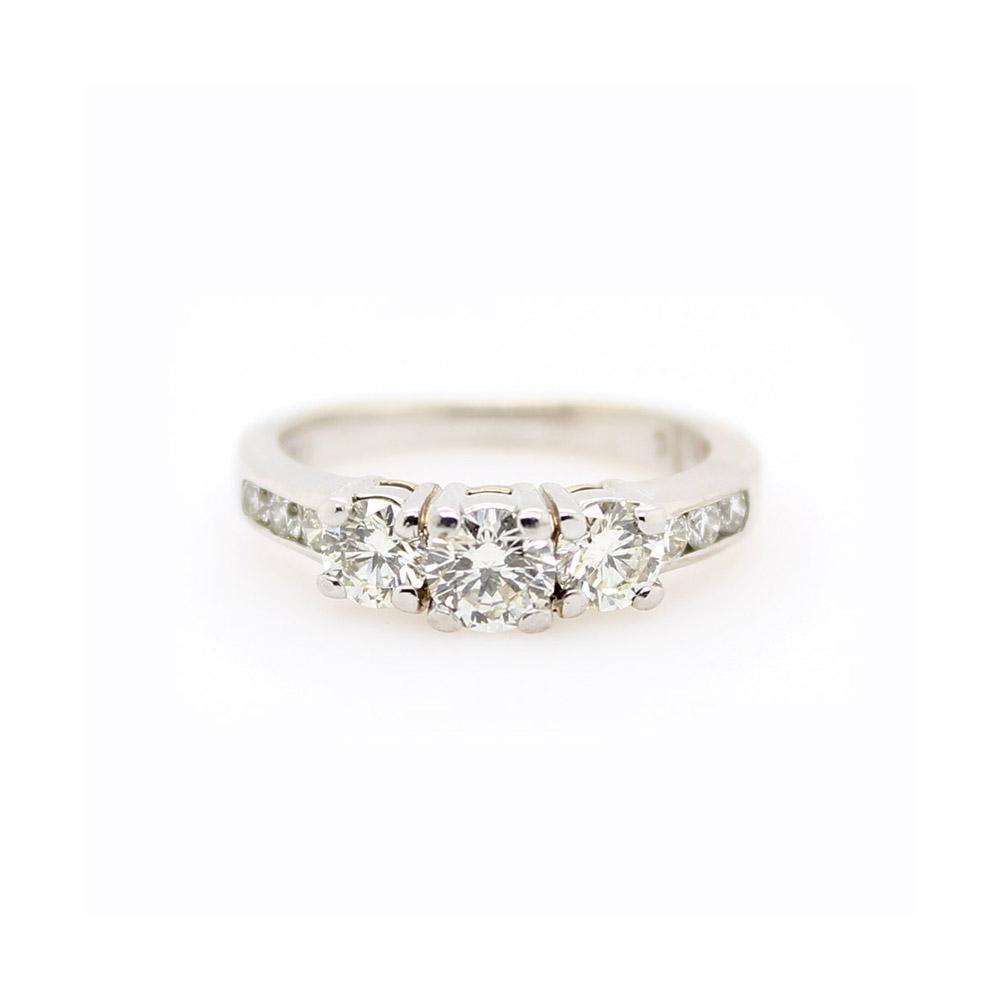 Vintage 14 Karat White Gold Diamond Bridal Ring