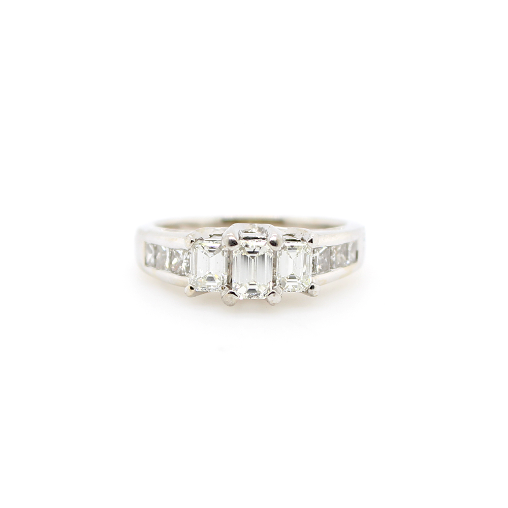 Estate 18 Karat White Gold Three Across Bridal Ring
