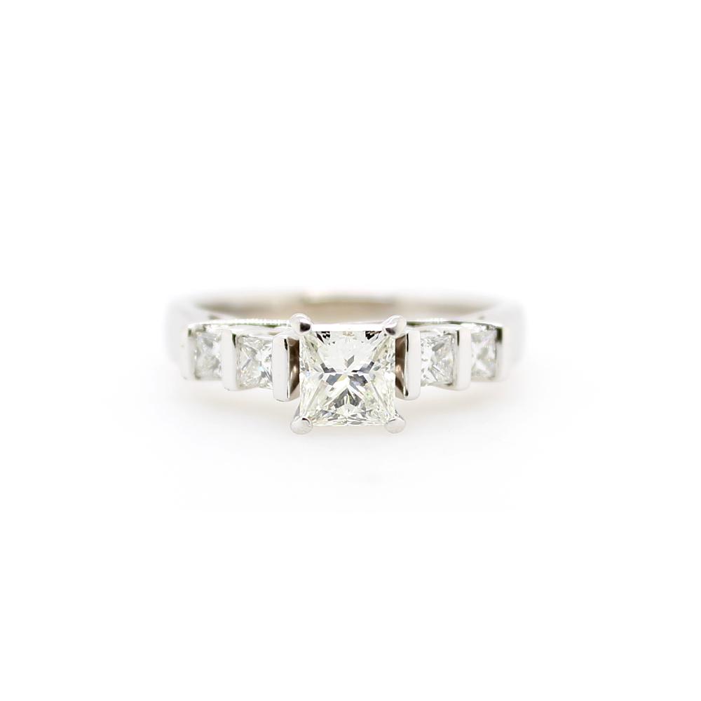 Vintage 14 Karat White Gold Five Stone Diamond Bridal Ring