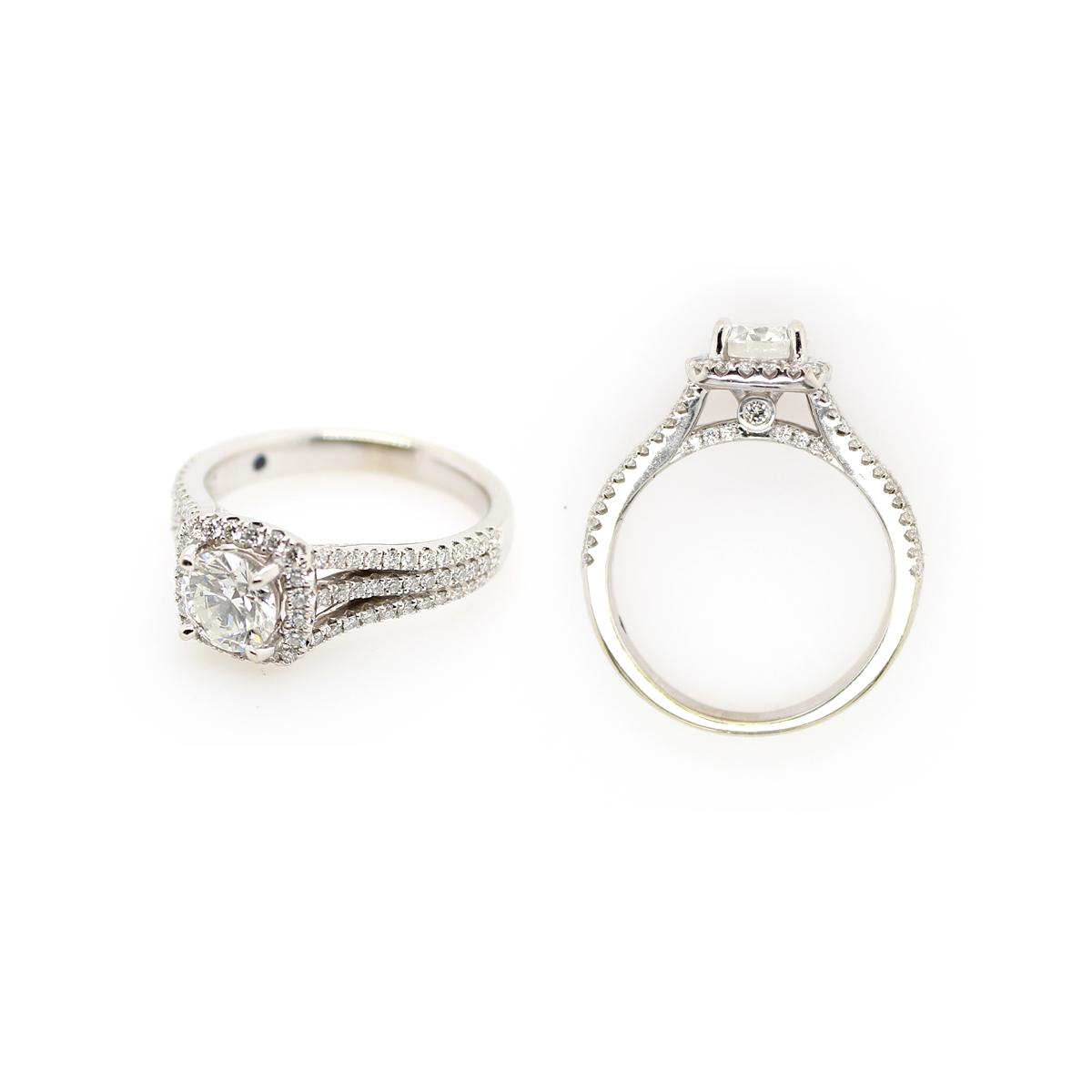 Vintage 14 Karat White Gold GIA Certified Diamond Bridal Ring