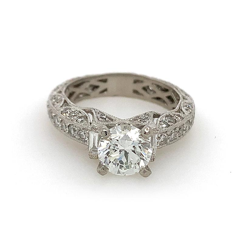 Vintage Platinum GIA Certified Diamond Engagement Ring