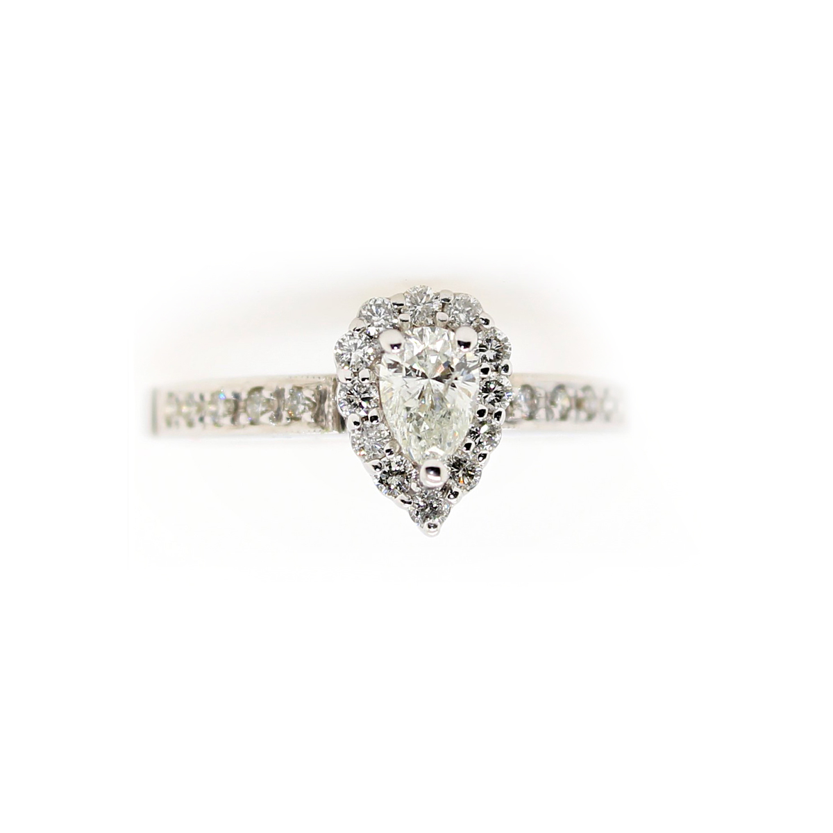 Vintage 14 Karat White Gold Pear Shaped Diamond Halo Ring