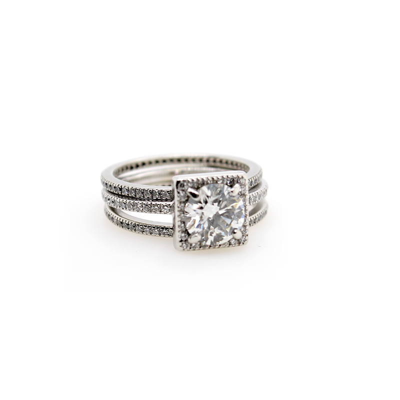 Vintage Platinum Bridal Ring Set