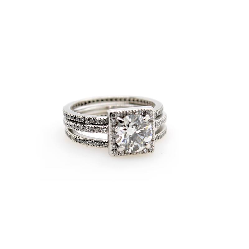 Vintage Platinum Bridal Ring Set