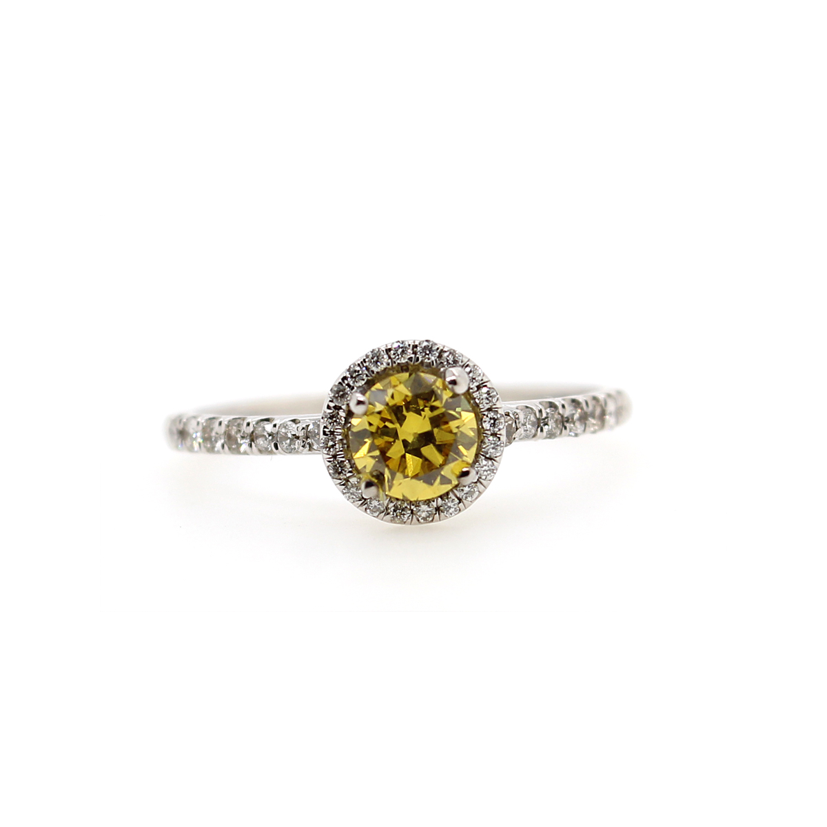 Vintage 14 Karat White Gold Natural Fancy Yellow Diamond Halo Ring