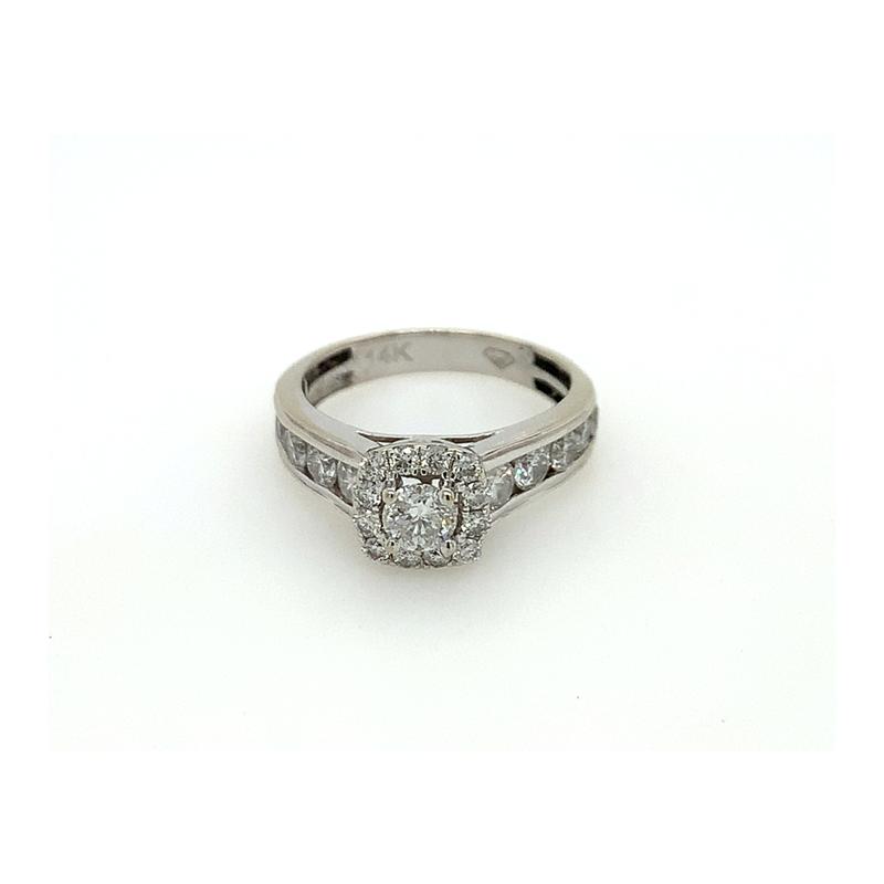 Vintage 14 Karat White Gold Diamond Halo Ring
