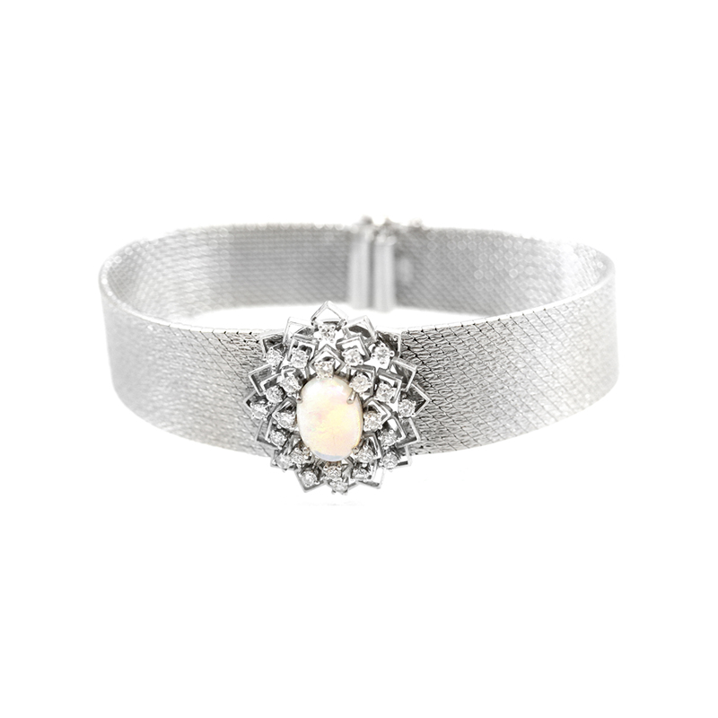 Estate 18 Karat white gold opal and diamond mesh bracelet