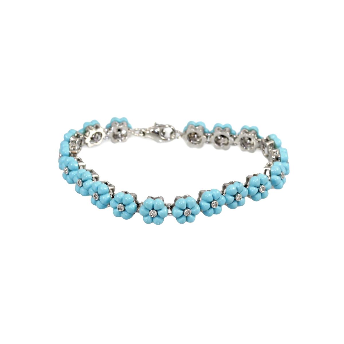 Vintage 18 Karat White Gold Turquoise and Diamond Bracelet