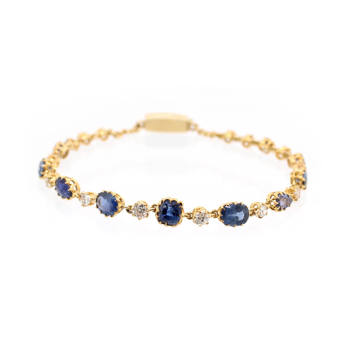 Estate 18 Karat Yellow Gold Diamond and Sapphire Link Bracelet